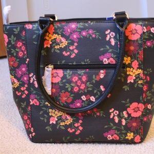 Apt. 9 Black and Floral Shoulder Bag